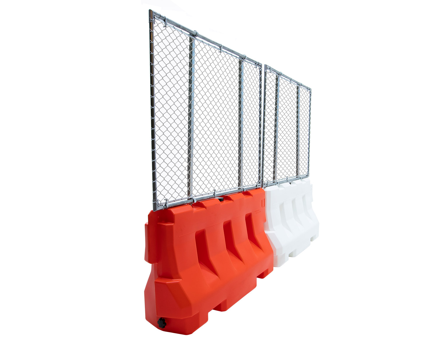 create an 8-foot barrier to entry with plastic jersey barricades and fence panels